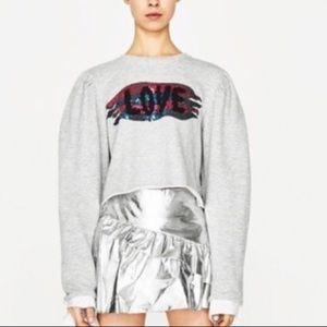 NWT ZARA LOVE 💕 Sequins Crop Sweatshirt